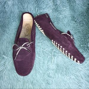 TODS Womens Purple Gommino Suede Loafers Slip On